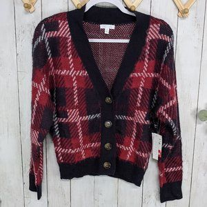 Abound Red and Navy Fuzzy Plaid Cardigan
